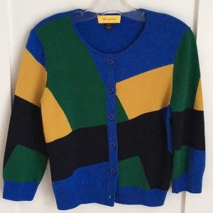 St John Color Block Wool Cardigan Size M